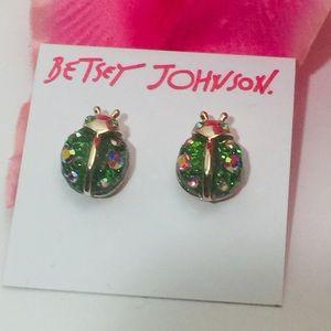 Betsey Johnson Fruity Petals Ladybug Earrings